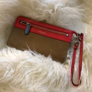 Coach Coral and Tan Wallet